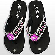 Black Pink  Flower Flip Flops               #HW-FF103SKHP