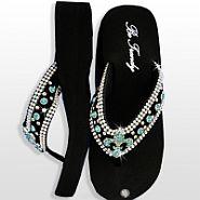 Black Blue Fleur De Li's Flip Flops                  #HW-FF103SNF-BLABM