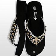 Black Brown Fleur De Li's Flip Flops                #HW-FF103SNF-BRABM