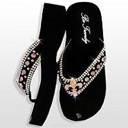 Black Pink Fleur De Li's Flip Flops                 #HW-FF103SNF-HPABM
