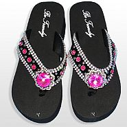 Black Pink Flower Flip Flops                #HW-FF103SNJHP