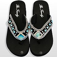 Black Blue Diamond Flip Flops              #HW-FF10SDBLUE