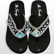 Black Blue Diamond Flip Flops              #HW-FF10SDBLUE