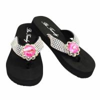 Rhinestone Flat Pink Flower Flip Flops                    #HW-FFF102NJ-HP-ABM