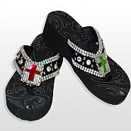 Black Large ABM Cross Flip Flops                  #HW- FF103SC4-ABM