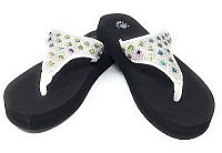 New Isabella Rhinestone White Flip Flops  #WLGH-NEW64White