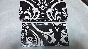 Black & White Pink Trim Damask Wallet   #BlkDamask