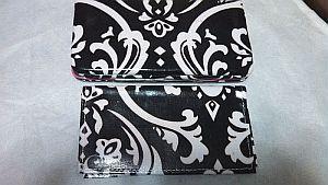 Black & White Pink Trim Damask Wallet   #BlkDamask