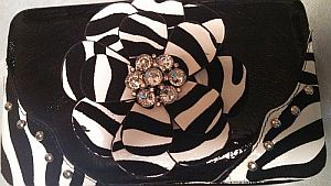 Black & White Zebra Rhinestone Flower Wallet   #BlkFlower
