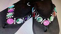 New Black Multi Colored Pink Green Gem Flip Flops    #TT-8