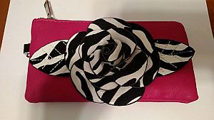 Pink Zebra Flower Clutch Cosmetic Bag   #PinkFlower