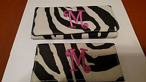 Monogram M Fabric Pink Black Zebra Wallet   #MZebra