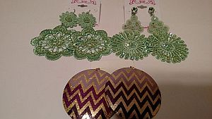 Green Crochet & Purple Chevron Large Earrings   #MISC