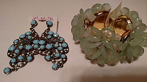Turquoise Earrings & Green Flower Bracelet   #MISC2