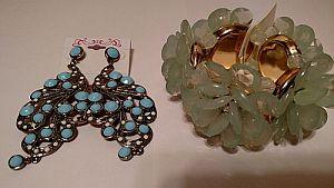 Turquoise Earrings & Green Flower Bracelet   #MISC2