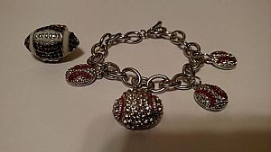 Rhinestone Bling Baseball Bracelet & Bling Football Ring  #MISC5
