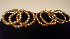 Natural Colored Pearl Stretch Bracelets  #Pearl