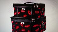 Set of 2 Black Pink Lip Cosmetic Train Cases    #D-lip2cases