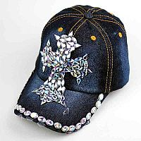 Blue Jean Rhinestone Cross Hat         #AH-0084BLU