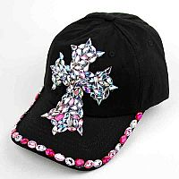 Pink Rhinestone Cross Hat       #AH-0084HPK