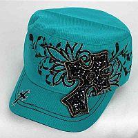 Turquoise Rhinestone Cross Hat            #AH-KBV-747