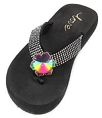 New Rhinestone Multi Colored Flower Flip Flops   #LOVE9