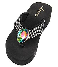 New Rhinestone Multi Oval Gem Love Flip Flops   #LOVE11