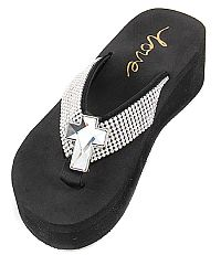 New Rhinestone Silver Clear Cross Flip Flops   #LOVE8