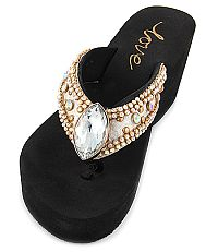 New Gold Rhinestone Gem Flip Flops  #LOVE4