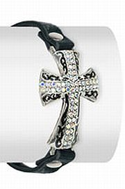 Large Rhinestone Cross Bracelet      #HE-JL-1078-ML