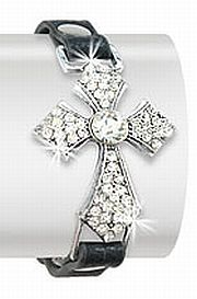Beautiful Rhinestone Cross Bracelet   #HE-JL-1098-CE