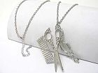 Silver Mirror Scissor Comb Necklace