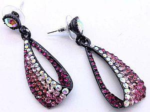 Ombre Pink Hoop Dangle Earrings   #OmbrePink