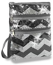 Black Silver Chevron Sequin Messenger Bag            #LU-KAD-2114-BK