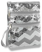 Gray Silver Chevron Sequin Messenger Bag              #LU-KAD-2114-GY