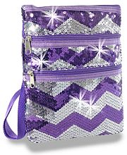 Purple Silver Chevron Sequin Messenger Bag               #LU-KAD-2114-PP