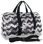 Bling Sequin Black Chevron Duffel Bag