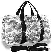 Bling Sequin Chevron Gray Duffel Bag