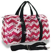 Bling Sequin Chevron Pink Duffel Bag
