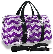 Bling Sequin Purple Chevron Duffel Bags