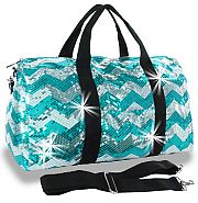 Bling Sequin Chevron Turquoise Duffel Bag