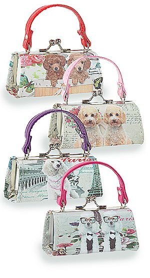 One Dozen Mini Purses Poodle Design HEX-2812