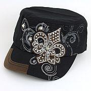Black Bling Fleur De Li's Hat