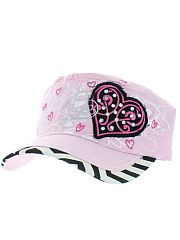 Pink Black Chevron Heart Love Hat