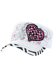 White Black Chevron Heart Love Hat