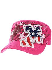 Hot Pink Red White Blue Rhinestone Cross Hat