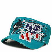 Turquoise Red White Blue Rhinestone Cross Hat