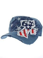 Blue Red White Blue Rhinestone Cross Hat