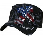 Black Rhinestone Flag Cross Hat