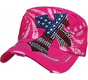 Pink Rhinestone Flag Cross Hat